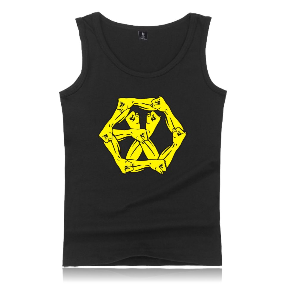 KPOP EXO EXO-M EXO-K Vest Fitness Cotton Summer Bodybuilting EXO Tank Top EXO-L Clothes For Lover 4XL Plus Size