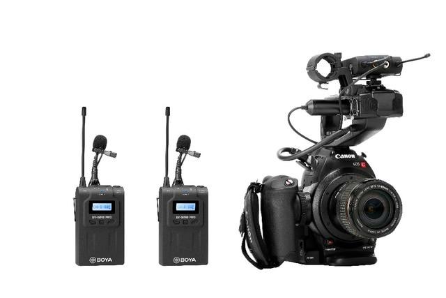 Boya BY-WM8 Pro-K2 Uhf Dual-Channel Lavalier Draadloze Microfoon Systeem 2 Zenders & 1 Ontvanger Met Lcd-scherm Voor canon Ni