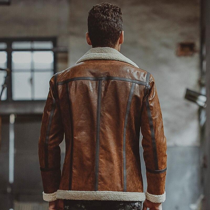 Mens Biker Bomber Black Faux Fur Shearing Real Cowhide Leather Jacket