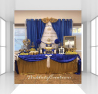 HUAYI Royal little prince birthday backdrop photophone gold crown background photocall Customized baby boy baby shower backdrop
