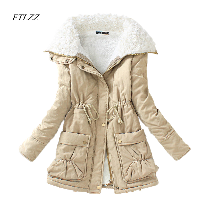 FTLZZ Winter Parkas Women Slim Cotton Coat Thickness Overcoat Medium-long Plus Size Casual Overcoat Wadded Snow Outwear