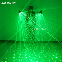 2019 New 2 in 1 Multi-line Green Laser Gloves With 4pcs 532nm 80mW Laser LED Stage Gloves For LED luminous Costumes Show цены