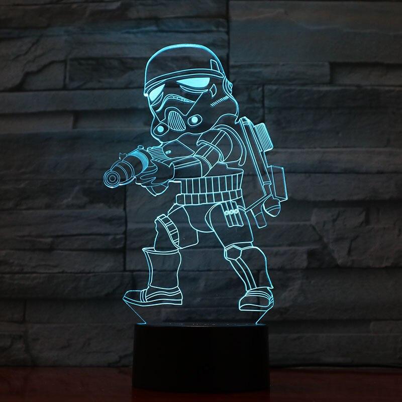 Novelty Light Star Wars Stormtrooper Figure Kid Nightlight Color Changing Home Decor Lamp Child Holiday Gifts 3d Led Night Light