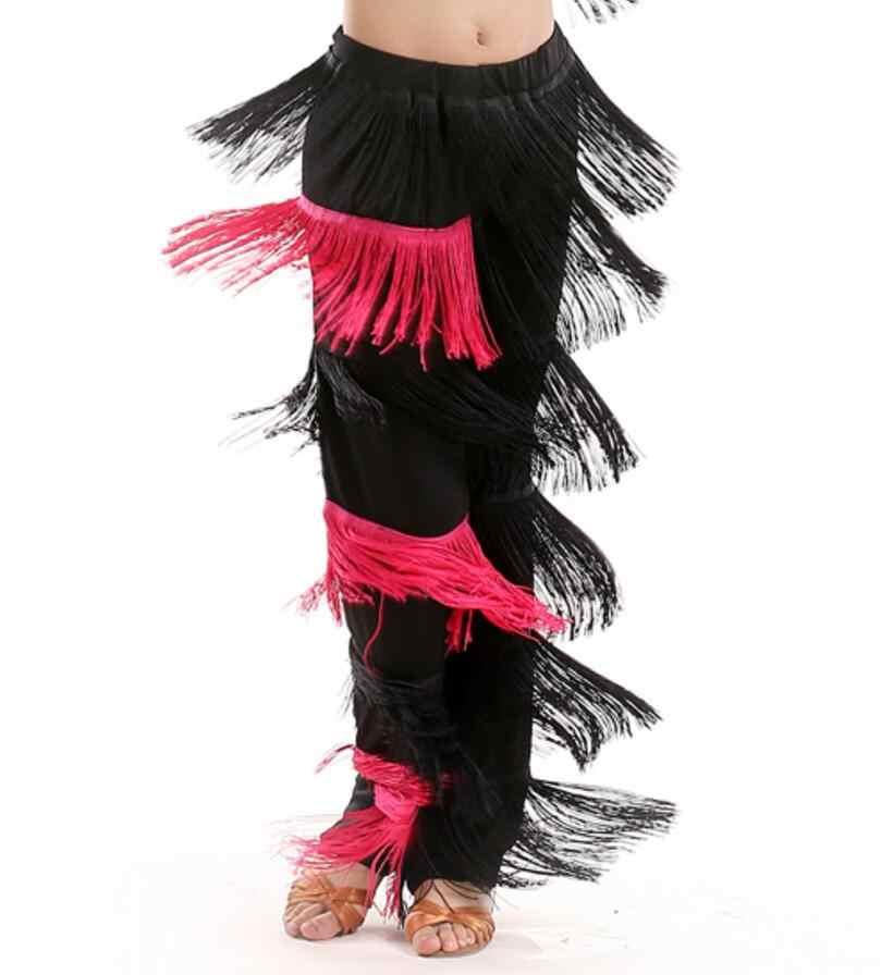 חדש הגעה סמבה ציצית לטיני ריקוד תלבושות בנות סלסה סלוניים פרינג 'ריקוד מכנסיים תלבושות למבוגרים ריקודים סלוניים שמלה