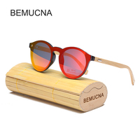 2017 BEMUCNA New Round Top Bamboo Sunglasses With Case Brands Sunglasses Women Retro Designer Wooden Sunglasses