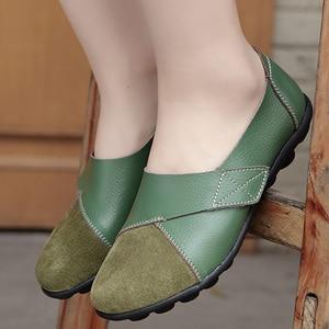 Image 4 - Vrouw Flats Schoenen Zacht Echt Leer Grote Maat 41 44 Patchwork Suède Bootschoenen Voor Vrouwen Haak Lus massage