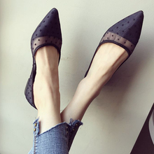 Women's Shoes Pointed Flat Black Large-Size Breathable Fashion Casual Summer Mesh Polka-Dot