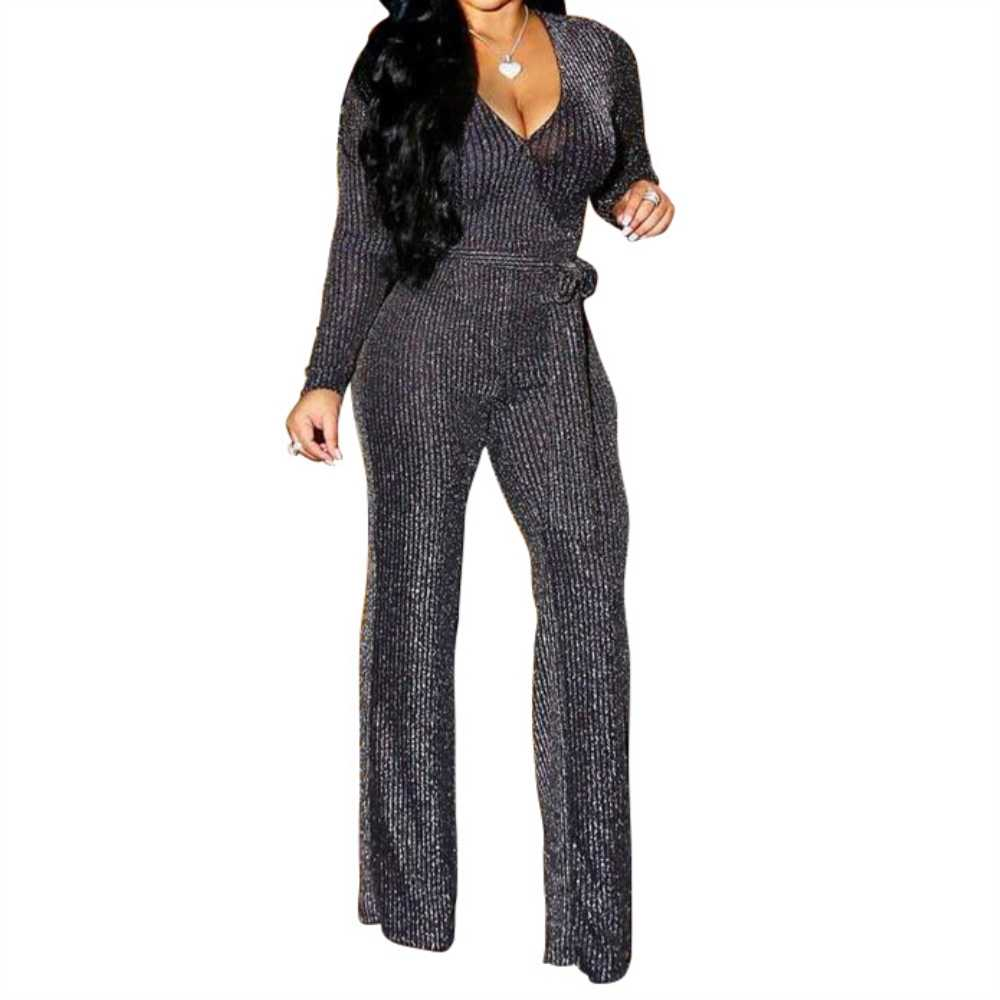 2770f33c391 Sexy Deep V-Neck Womens Jumpsuit Autumn Winter Long Sleeve Rompers Playsuit  Ladies Elegant One