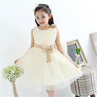 Flower Bow Girl Dresses For Wedding Pageant First Holy Tulle Lace Communion Dress For Girls Toddler