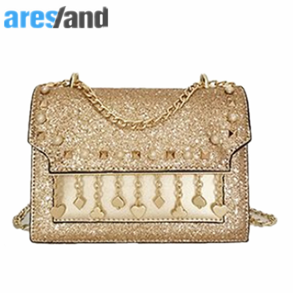 Aresland Fashion Chain Women Bag Ladies Messenger Bags Pu Leather Rivet Tassel Small Square Crossbody Shoulder Bag - Golden new punk fashion metal tassel pu leather folding envelope bag clutch bag ladies shoulder bag purse crossbody messenger bag