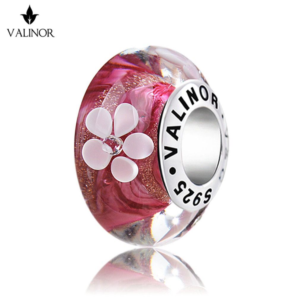 Inlaid with zircon <font><b>flowers</b></font> murano glass beads charms 925 Sterling Silver fit Bracelets for Women Jewelry Trendy GCLL016