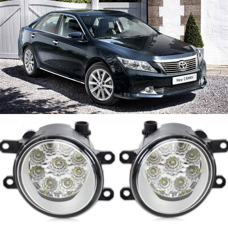 Car-Styling For Toyota Camry Aurion 2012-2014 9-Pieces Leds Chips LED Fog Head Lamp H11 H8 12V 55W Halogen Fog Lights fog light set 12v 55w car fog lights lamp for toyota hiace 2014 on clear lens wiring kit free shipping