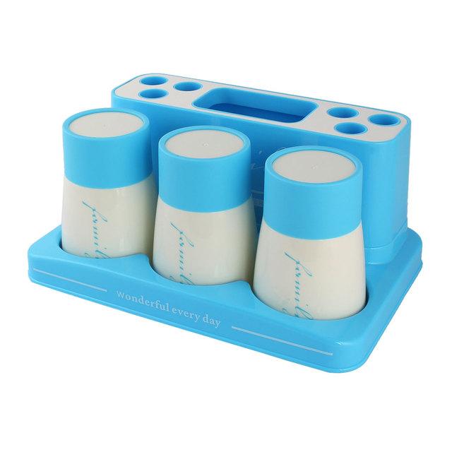 UXCELL Escovar Copo de Plástico Caneca de Dente Creme Dental Escova de Dentes Titular Família Definir Céu Azul