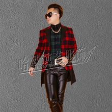 S-6XL !   2017   Big yards   Men plaid dress New design of men's bar and nightclub singer suit    The singer's clothing