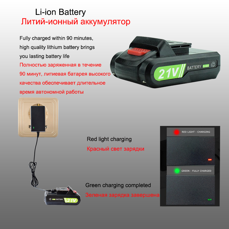 Image 4 - 21V Power Tools Rechargeable Lithium Battery*2 Mini Cordless Electric Drill Multifunction Electric Screwdriver 2 Speed +12 Drill-in Electric Drills from Tools