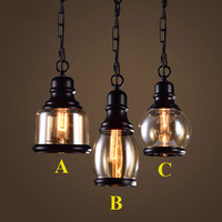 Loft Pendant Light Industrial Style Glass Pendant Lamps Bar Restaurant Light Retro Lamparas Colgantes Black And