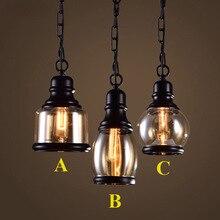 Чердак подвеска легкой промышленности стиль стекло подвесные светильники бар / ресторан свет ретро Lamparas Colgantes черный и евро-амер светильник