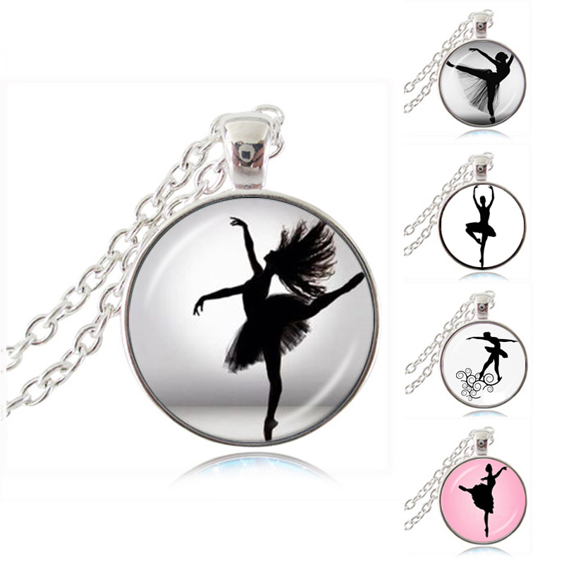 Dancing ballerina dancer necklace ballet dance girl photo pendant dancing ballerina dancer necklace ballet dance girl photo pendant cabochon dome fashion jewelry for woman sweater chain necklace in pendant necklaces from mozeypictures Image collections