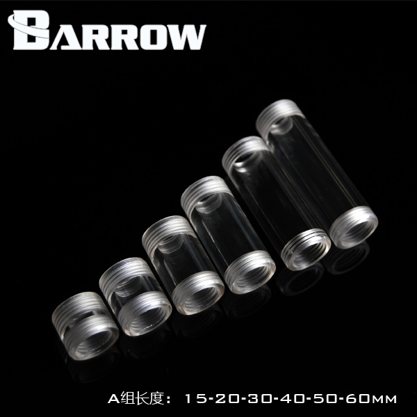 Barrow high transparency type packages Female thread acrylic double extended adapter seat Water cooling system accessories barrow g1 4 female thread straight docking seat tube extend 7 5mm computer water cooling fitting tnyz g7 5