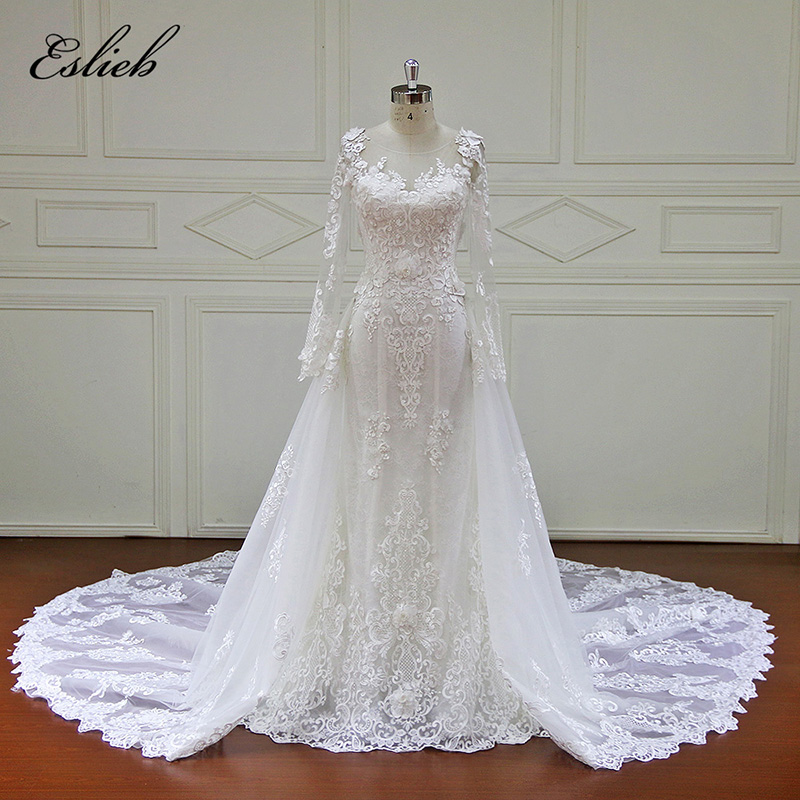 Full sleeves detachable tail vintage wedding dress mermaid for Lace button back wedding dress