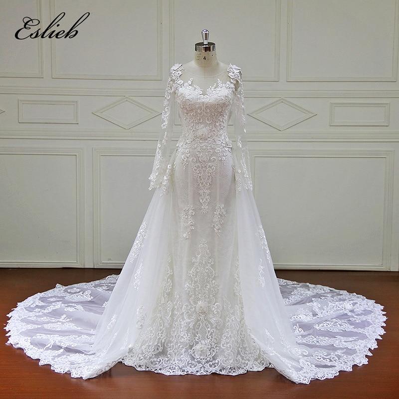 Full sleeves detachable tail vintage wedding dress mermaid Lace button back wedding dress