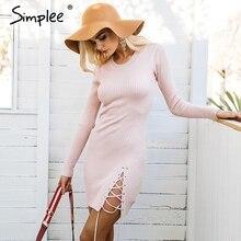Simplee Lace up skinny knitted sweater dress women Elegant split pull knit winter dress 2017 autumn jumper vintage pullover