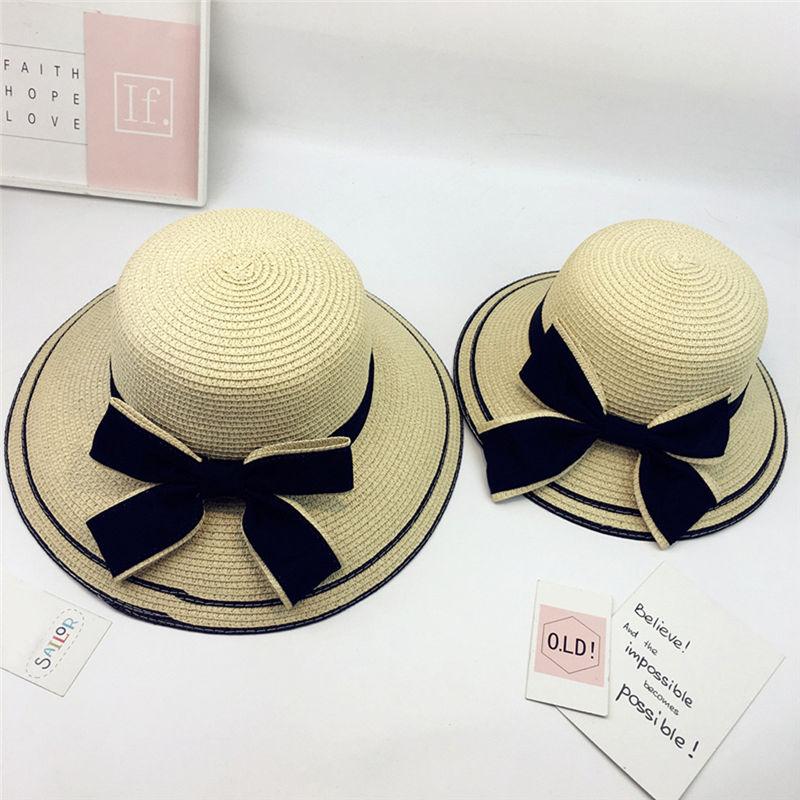 New Women Summer Parent-child Women Casual Daily Baby Kids Girl Beach Bow Straw Flat Brim Sun Hat Cap #4F09 (17)