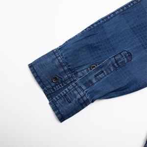 Image 4 - Fredd Marshall 2019 New Fashion Casual Denim Shirt Men Slim Fit Long Sleeve 100% Cotton Plaid Shirt Male Brand Clothing 200