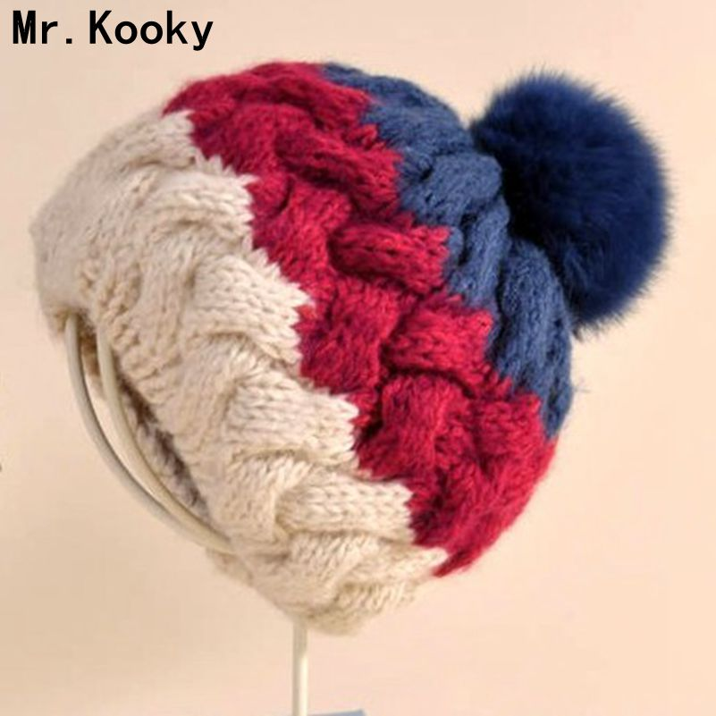 Mr.Kooky Autumn Winter Women Lady Warm Multicolor Cute Knitted Hat Girls Lovely Hair Ball Crochet Beanie Christmas Birthday Gift bomhcs cute big flower beanie winter lady s warm crochet knitted hat 10