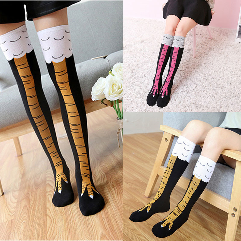 Funny 3D Chicken High Socks Creative Cartoon Animals Thigh Stockings Womens Mens