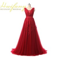 Burgundy Evening Dresses 2016 Dark Red A Line Lace Appliqued Beaded Prom Gowns Custom Made Long