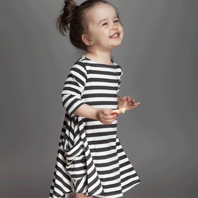 Black Striped Girl Loose Dress