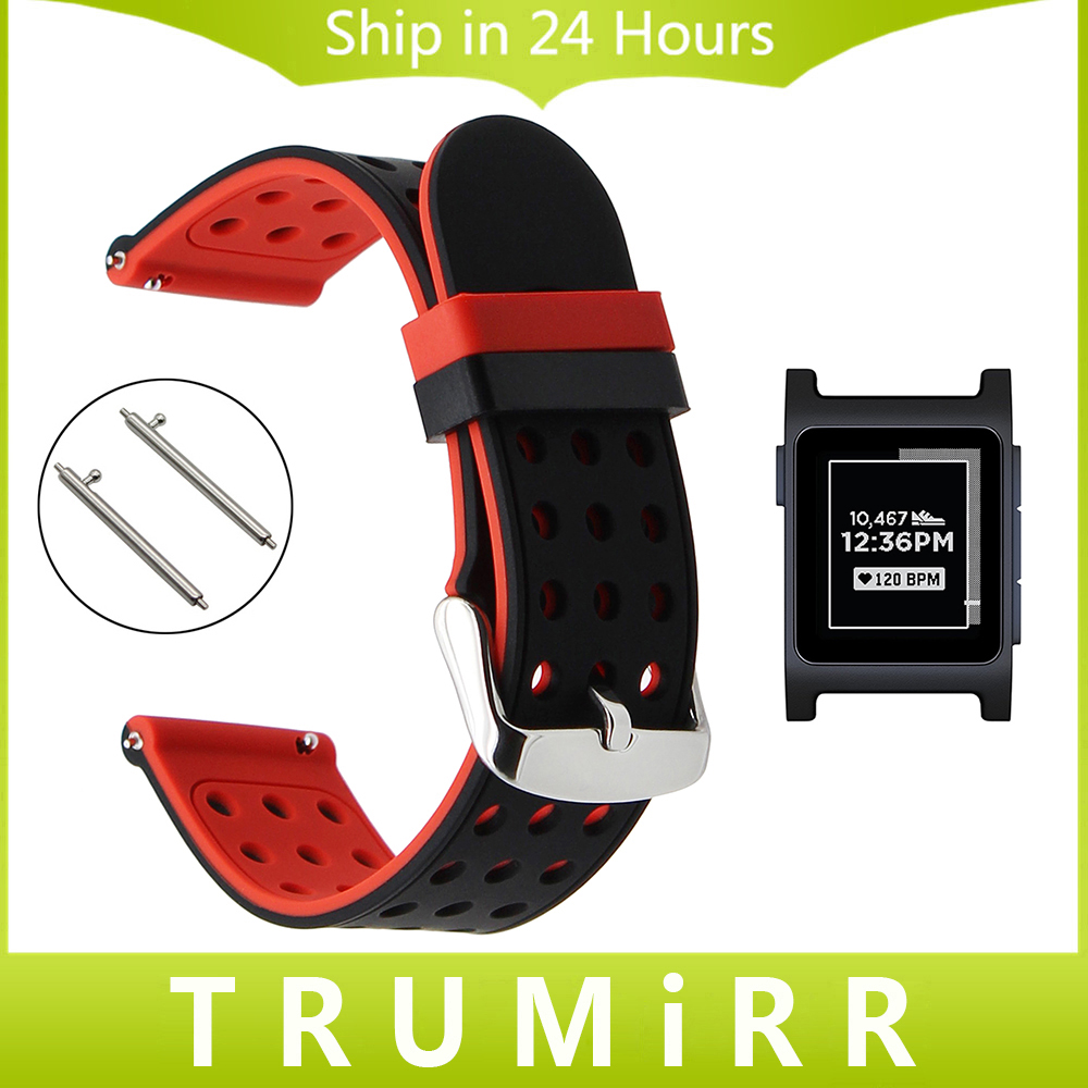 Quick Release Silicone Rubber Watchband for Pebble 2 / 2 SE Smart Watch Band Sports Strap Wrist Belt Bracelet Black Red White silicone rubber watchband quick release watch band 17mm 18mm 19mm 20mm 21mm 22mm universal strap wrist bracelet black blue red