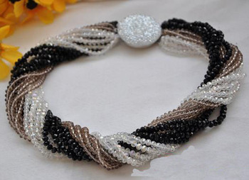 Perfect Handmade Luck Jewellery,15rows 18inches 4mm Black Smoky Clear Faceted Crystal Beads Rainbow Necklace
