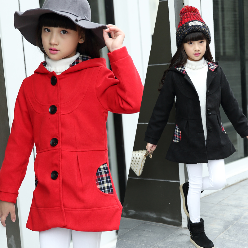 ФОТО Korean Pattern Casual Child Girls Red Black Hooded Trench Coat Dress Bow Decorated Great Coat Winter Wool Greatcoat Outerwear