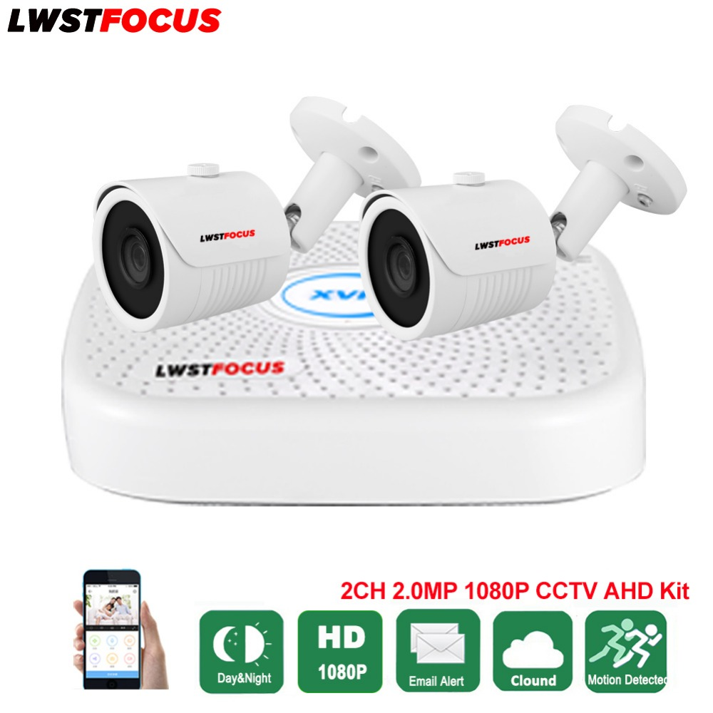 LWSTFOCUS 4CH AHD DVR Security CCTV System 30M IR 2PCS 1080P CCTV Camera Outdoor Waterproof Camera Home Video Surveillance Kit 4ch cctv system 1080p hdmi ahd 4ch cctv dvr 4pcs 1 3 mp ir outdoor security camera 960p waterproof camera surveillance system