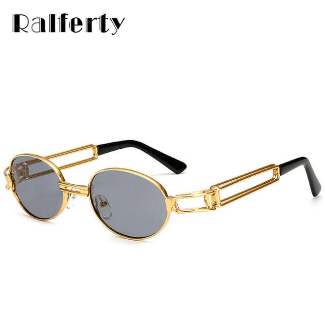 c5e3e507672 Ralferty Vintage Small Steampunk Goggles Oval Sunglasses Women Men Retro  Gothic Sun Glasses Gold Frame Eyewear