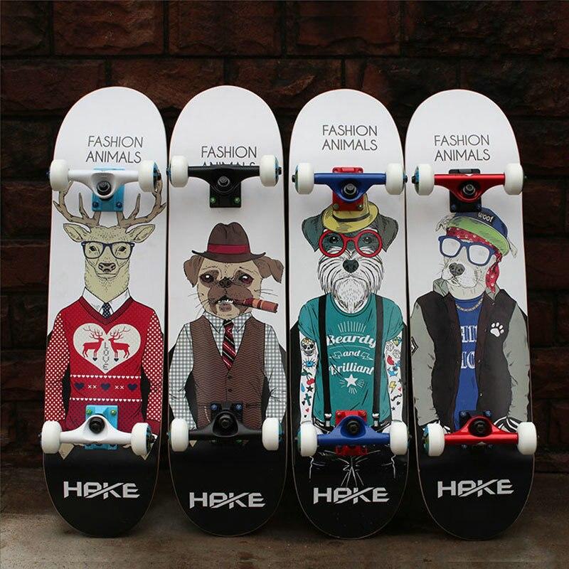 Professionnel Érable Canadien 4 Roues Double Rocker Planche À Roulettes 31 pouce Long Skate Board Graffiti Style Autoroute Planche À Roulettes