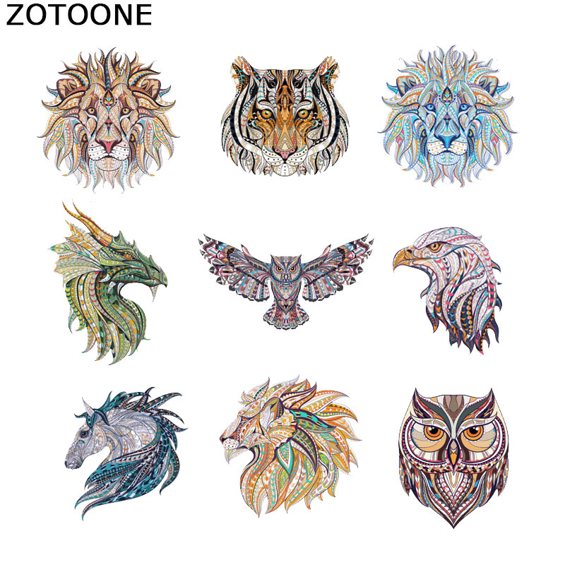 ZOTOONE Iron Patches for Clothing Tiger Patches Applique Clothes T Shirt Heat Transfer Ironing Stickers DIY Accessory Decoration in Patches from Home Garden