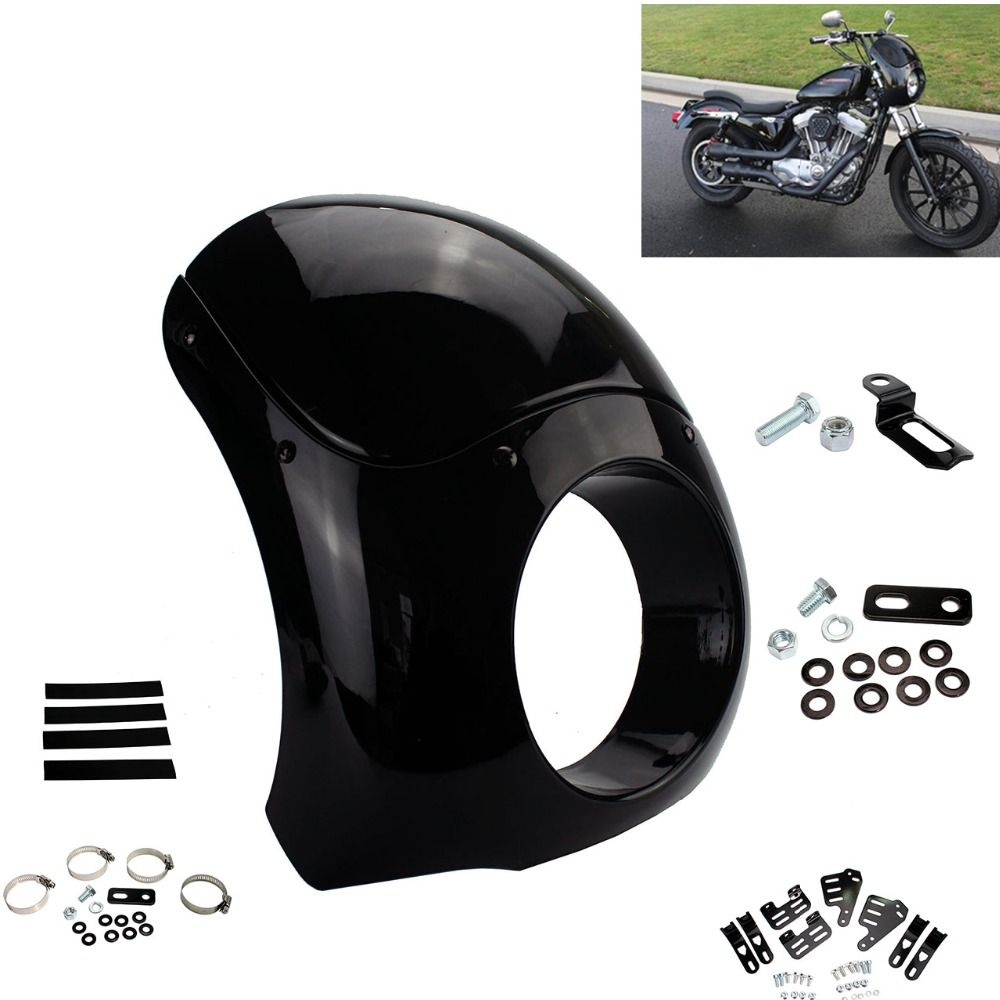 Moto Bohu Outlaw 5.75 Phare Carénage Pare-Brise 35-49mm Fourche Tubes Pour Harley Sportster XL Dyna Rue glide FXD FXR