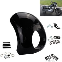 Motorcycle Burly Outlaw 5.75 Headlight Fairing Windshield 35 49MM Fork Tubes For Harley Sportster XL Dyna Street Glide FXD FXR