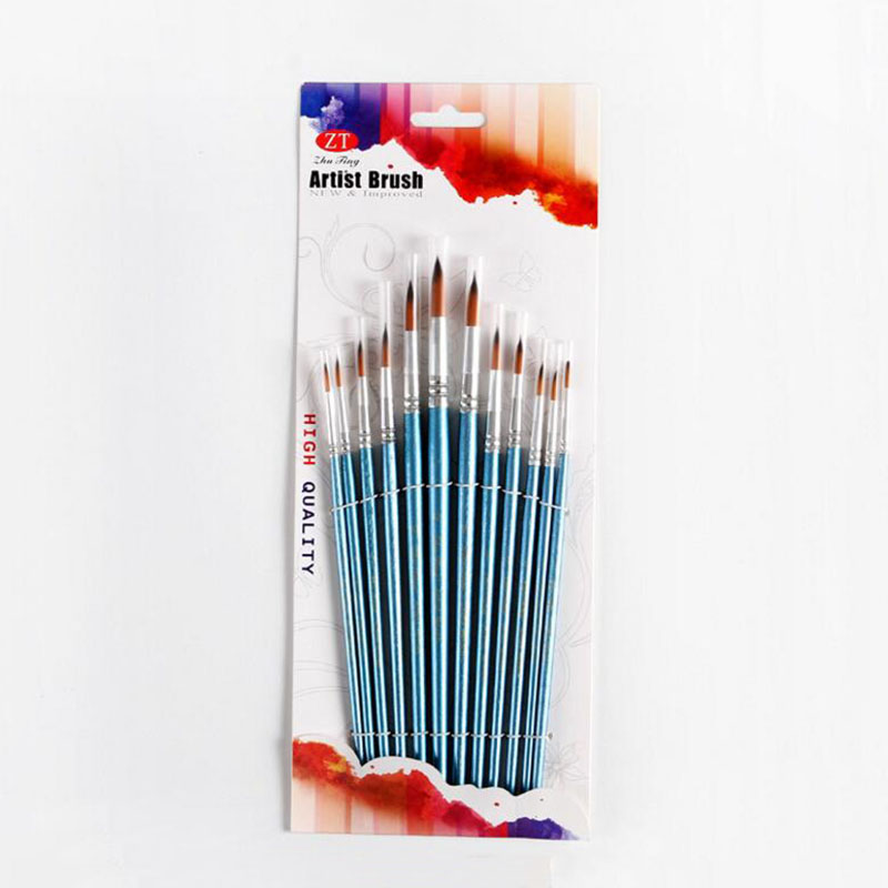 Купить с кэшбэком 12Pcs/Lot Paint Brush Oil Painting Brushes Watercolor Gouache Paint Brushes Nylon Hair Different Size Artist Fine Art Supplie