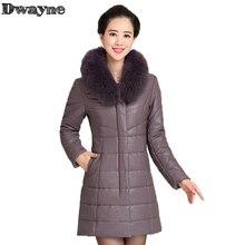 2017 Women's Real Sheepskin Coat Female Fox Fur Collar duck Down Jacket Warm Winter PU Leather coat Thicker long Keep warm L-7XL