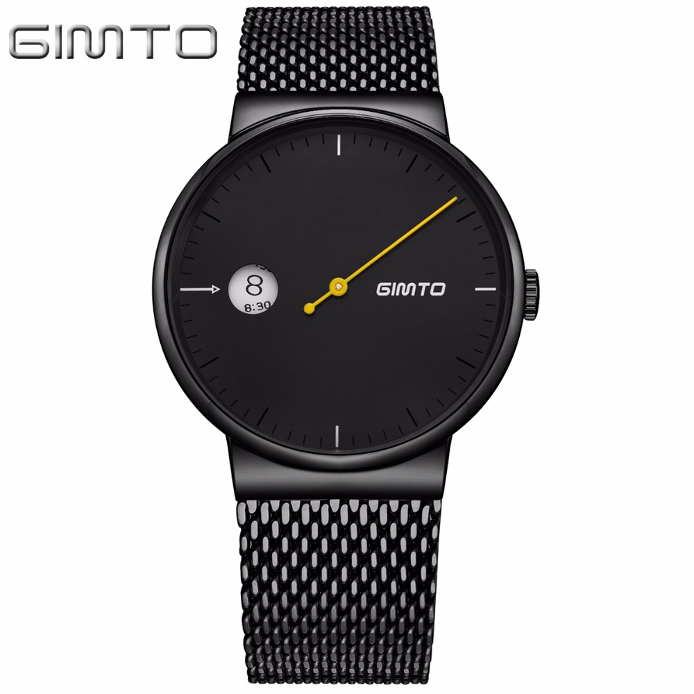 GIMTO Top Brand Luxury Men Women Quartz Watch Fashion Black Steel Lovers Clock Male Female Sport Wrist Watches relogio masculino rigardu fashion female wrist watch lovers gift leather band alloy case wristwatch women lady quartz watch relogio feminino 25