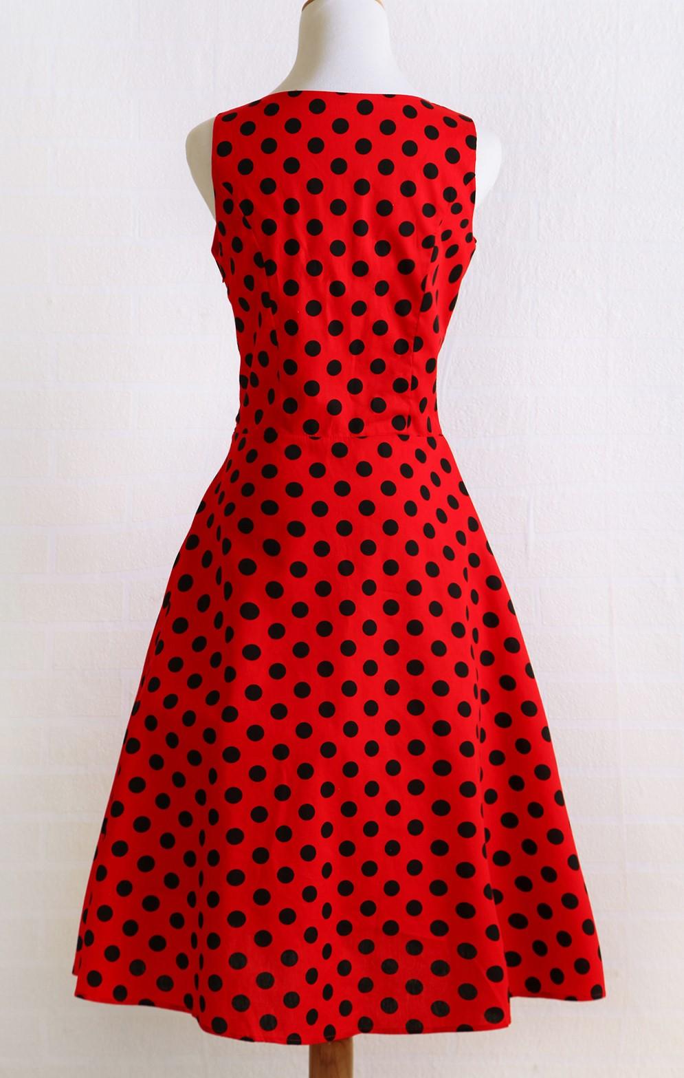 f0088ca5441d8 Candow Look Women Audrey Hepburn Summer Plus Size Vintage Rockabilly Red  Black Polka Dot 50s 60s Party Swing Circle Girl Dress