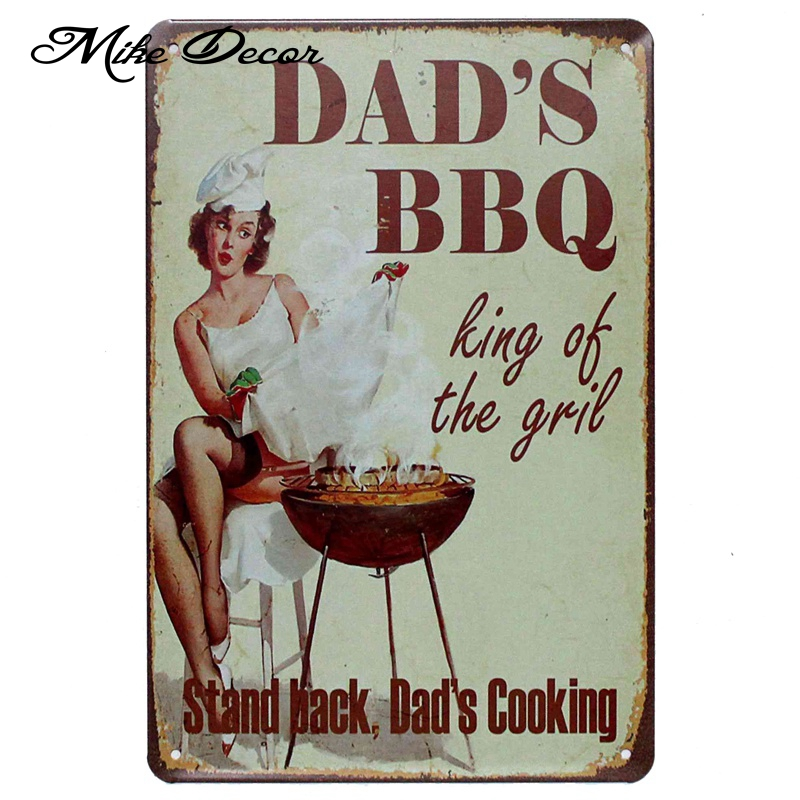 [ Mike86 ] DADS BBQ Kind of the girl Metal Painting Pub Room Hotel Decor Retro Wall Craft Tin Sign 20*30 CM Mix Items AA-907