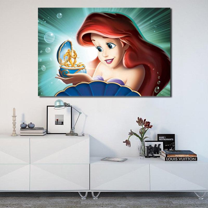 Home Decor Living Room Art Wall Little Mermaid Oil Painting Printed On Canvas