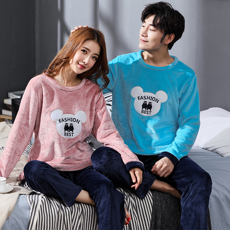 Winter Couple Cartoon Coral Velvet Pajamas Set Women Long Sleeve Plus Size Thick Warm Flannel Large Size Pyjamas Sets Home Suits