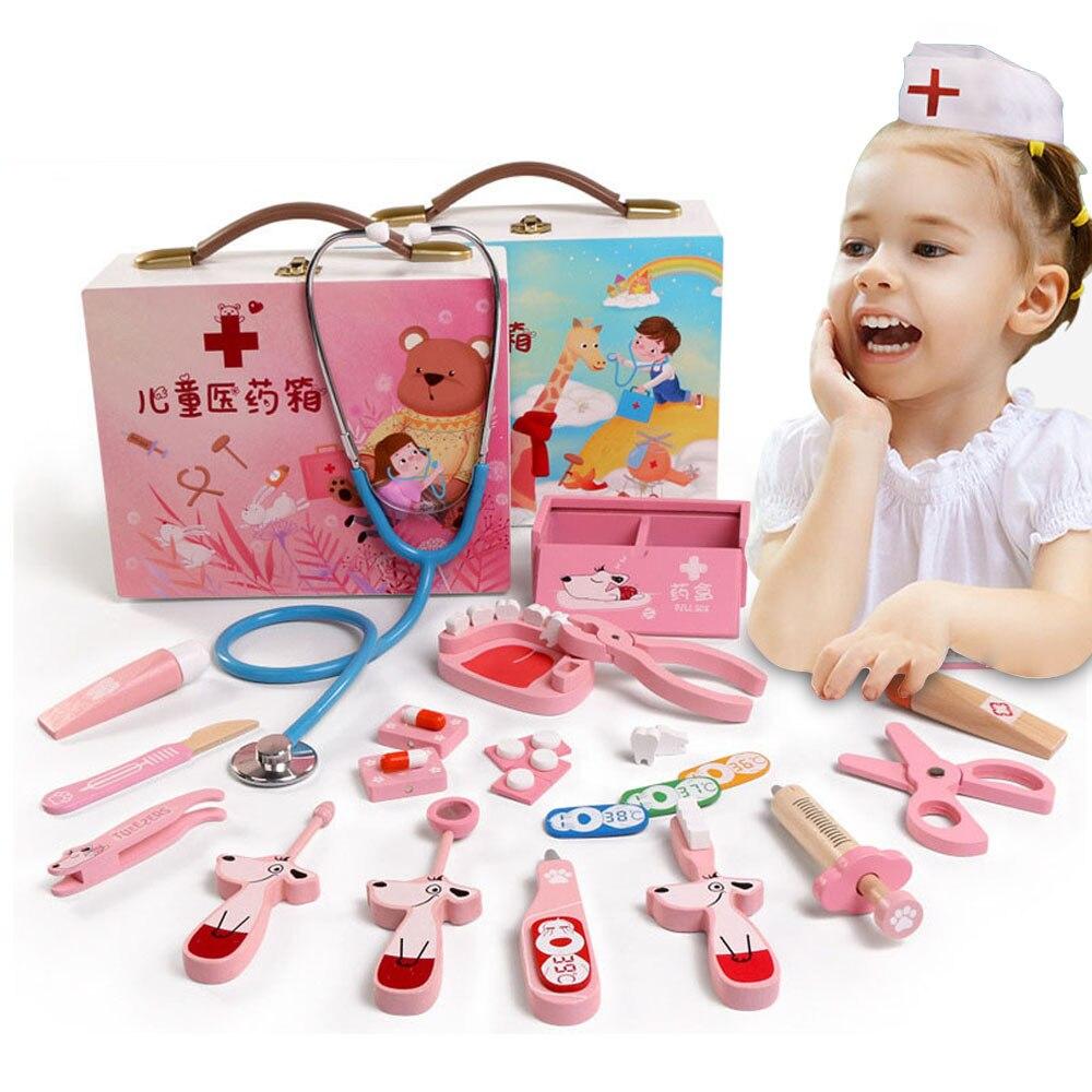 Bébé jouets jeu drôle vraie vie Cosplay docteur jeu Portable boîte à médicaments semblant docteur jouer ensemble en bois jouet pour enfant