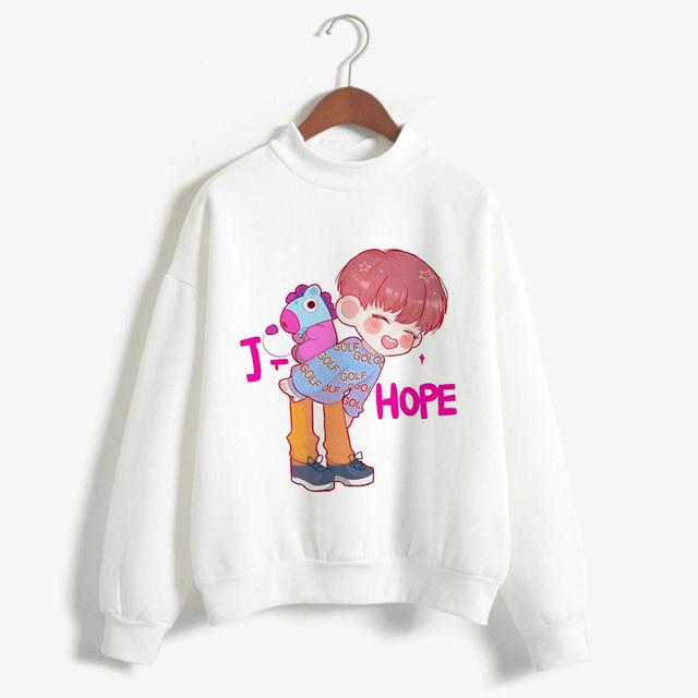 2018 BTS Love Yourself K Pop Women Sweatshirts Hip-Hop Bangtan Boys Jimin Clothes Bt21 Bts Hoodie Turtleneck  Harajuku Clothing